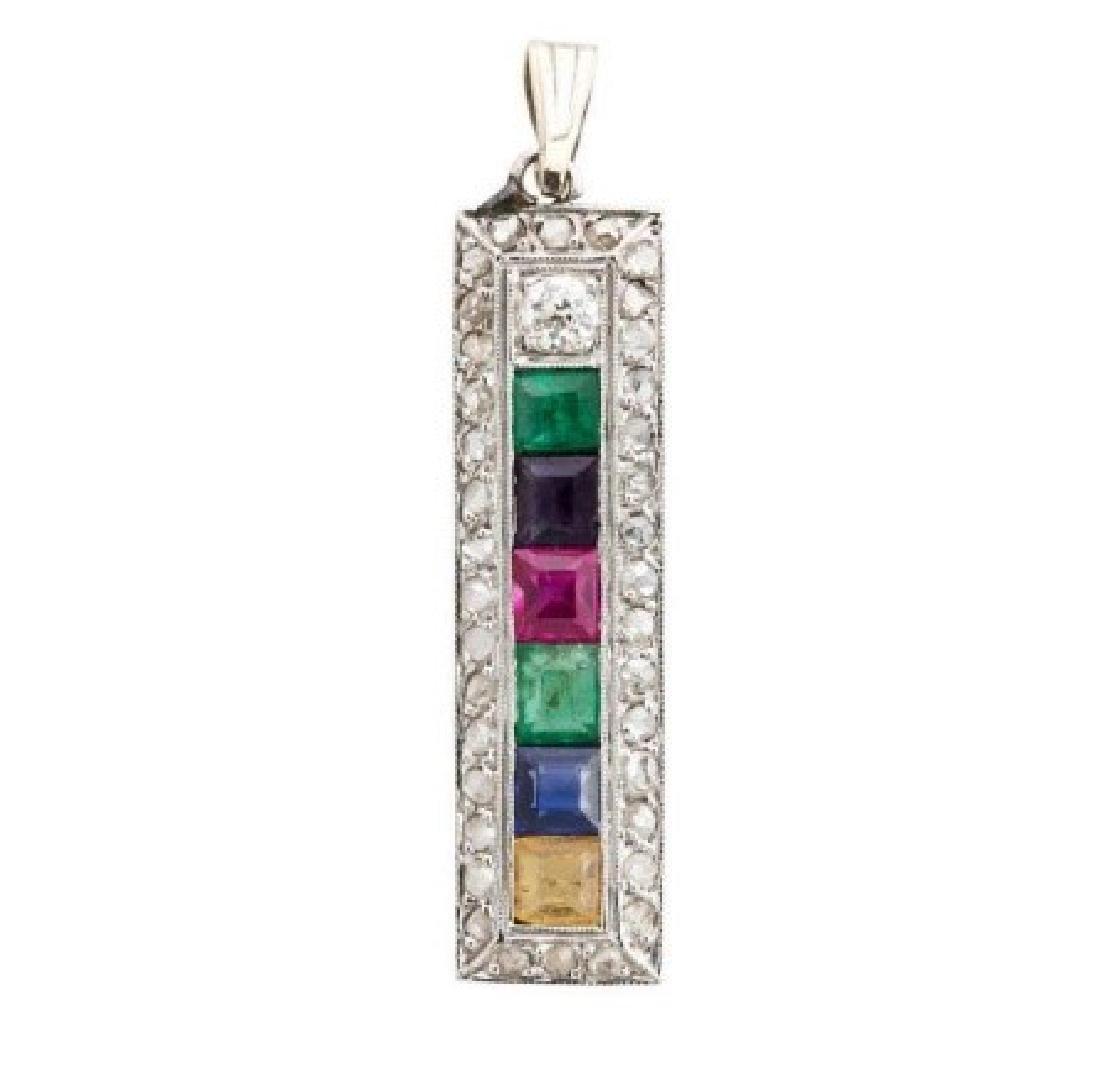 Antique Edwardian platinum ''DEAREST'' pendant