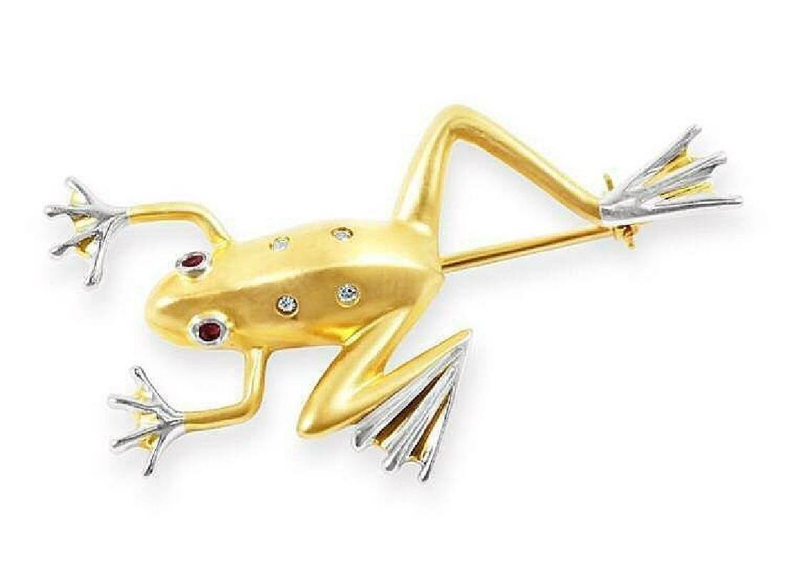 14K Yellow Gold Ruby Eye Frog Brooch