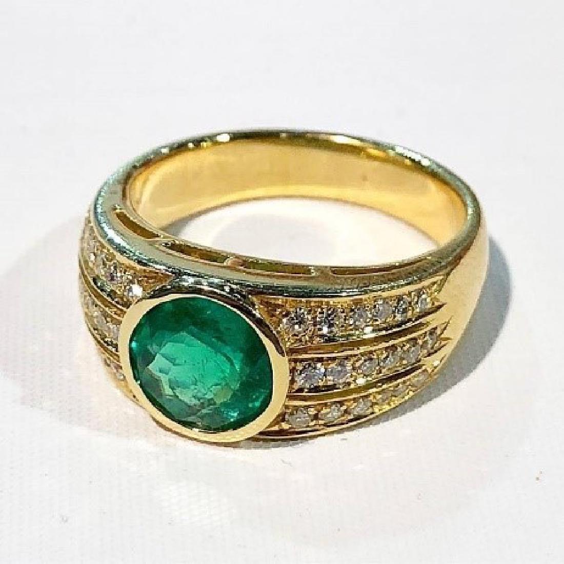18K 3.54 Zambian Emerald & Diamond Ring.
