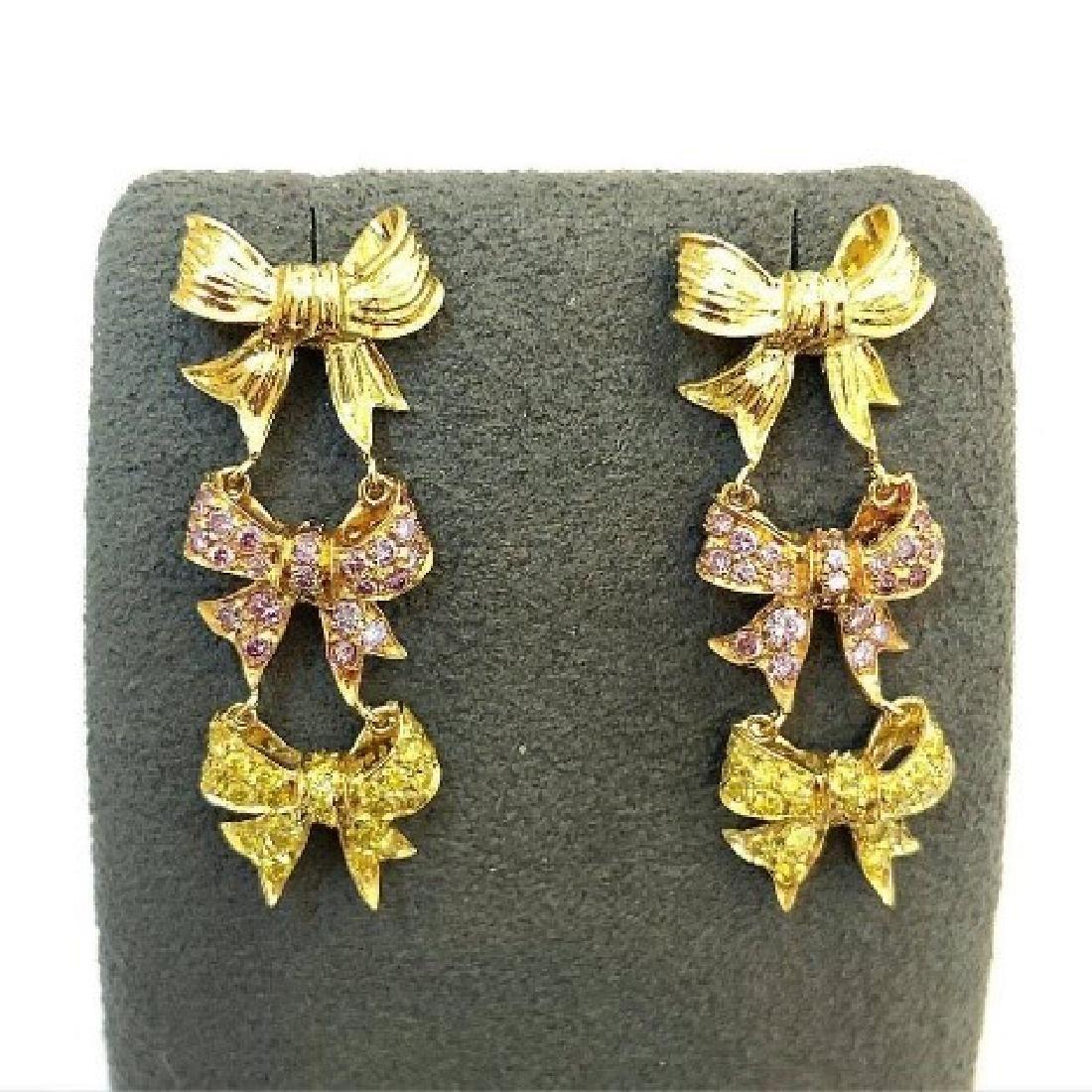 Carvin French Fancy Yellow & Pink Diamond Earrings