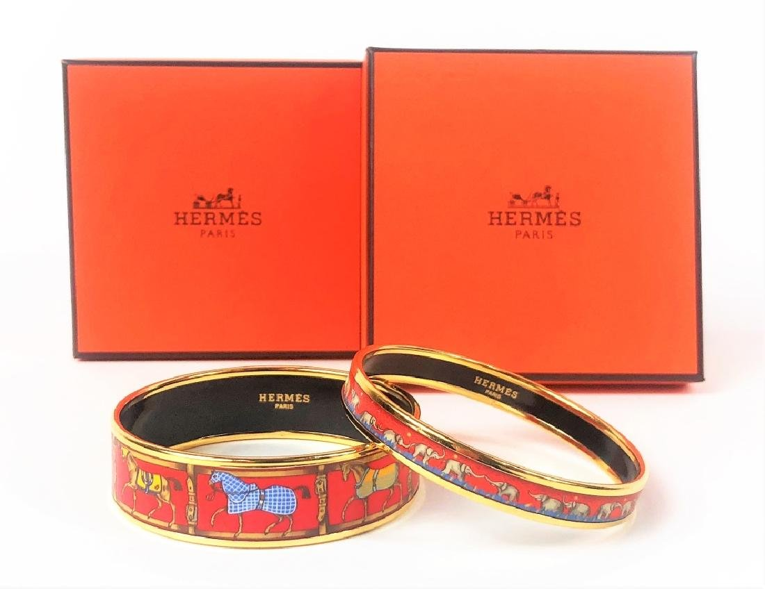 Two Hermes Paris Enamel Painted Bangle Bracelets