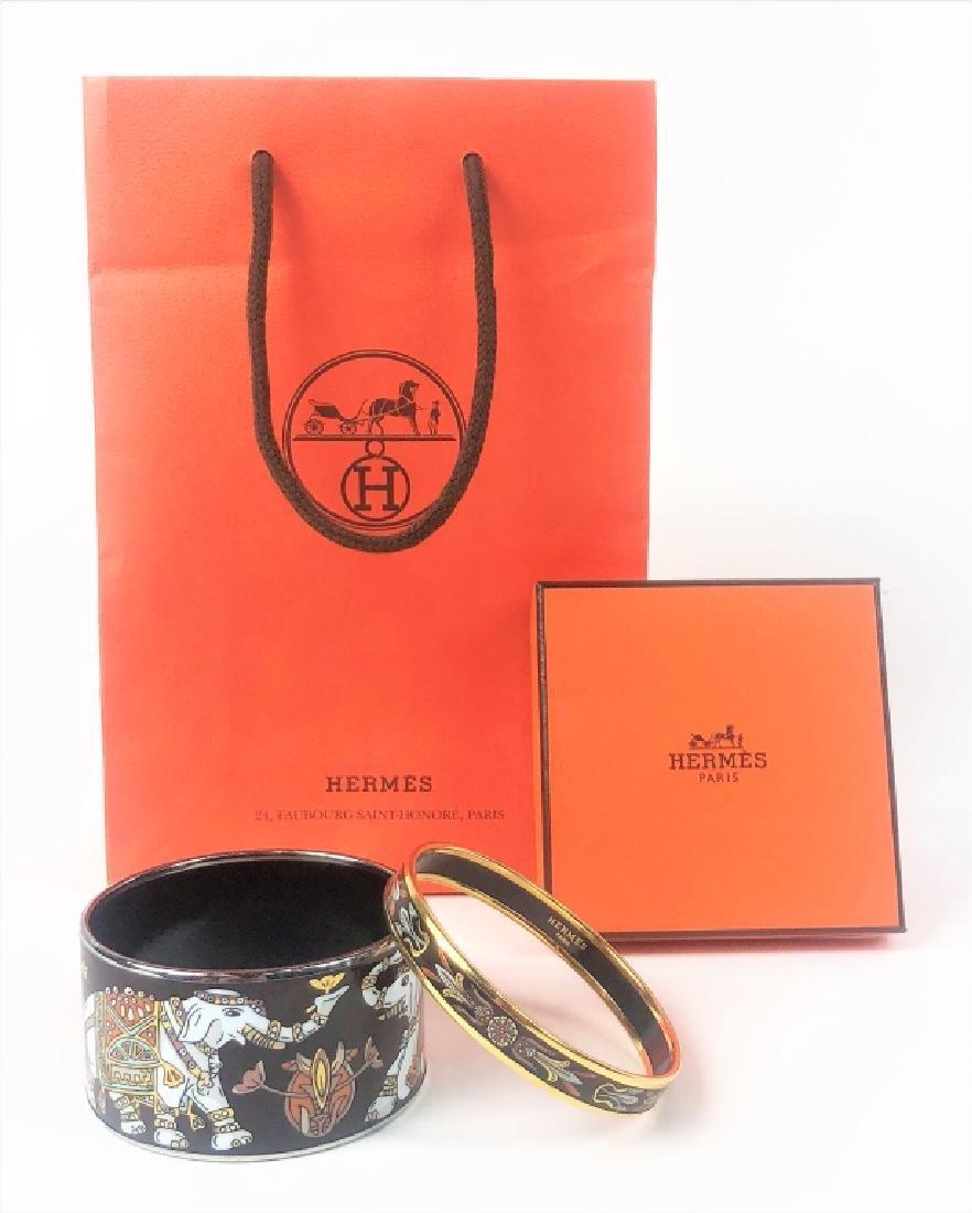 Two Hermes Paris Enamel Painted Bangle Bracelets