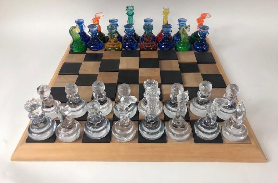 Rare Kosta Boda Blown Art Glass Designer Chess Set