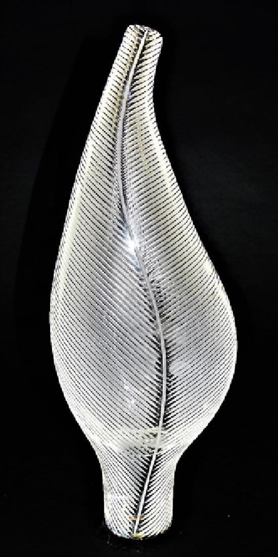 Contemporary Steuben Ribbed Leaf Glass Vase In Box