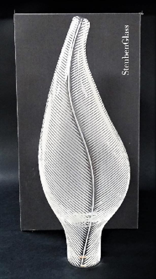 Contemporary Steuben Ribbed Leaf Glass Vase In Box - 4