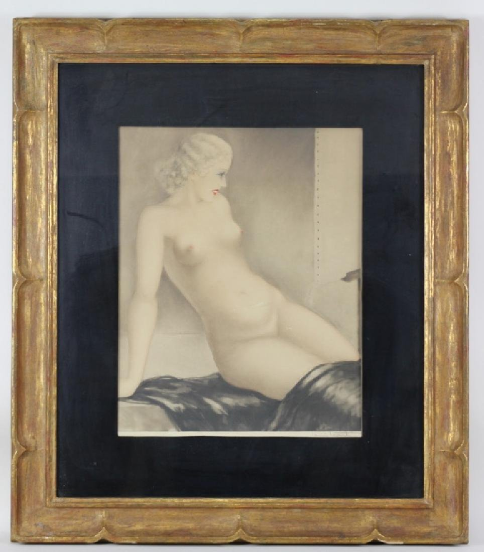Original Louis Icart Nude Study Copper Engraving