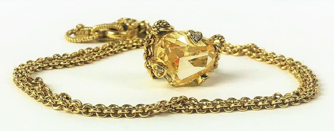Judith Ripka 18K YG Diamond Citrine Heart Necklace