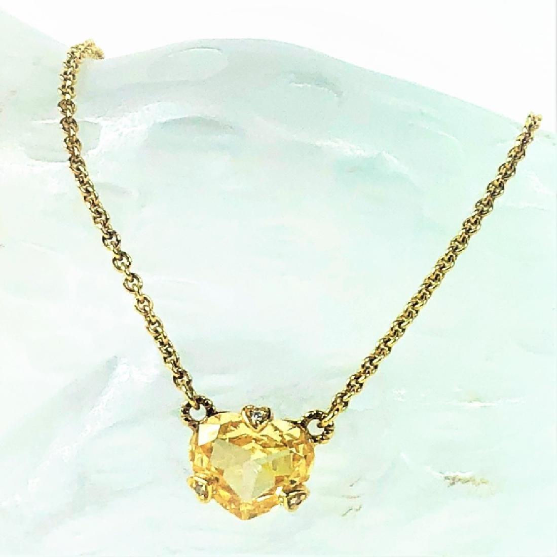 Judith Ripka 18K YG Diamond Citrine Heart Necklace - 2