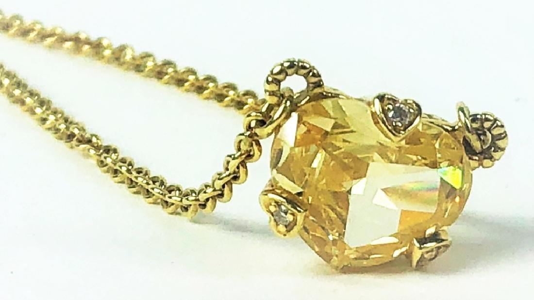 Judith Ripka 18K YG Diamond Citrine Heart Necklace - 3