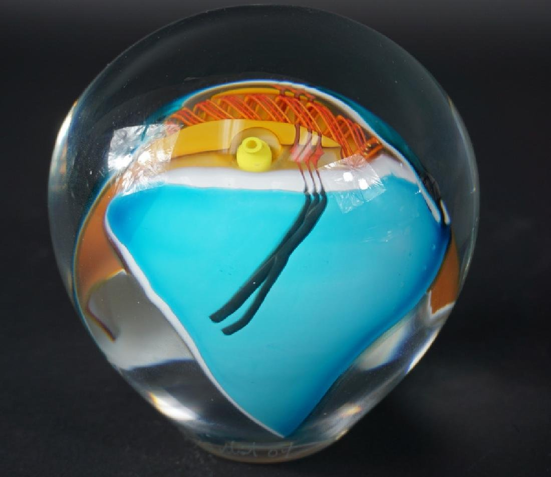 Large Contemporary Signed Art Glass Paperweight