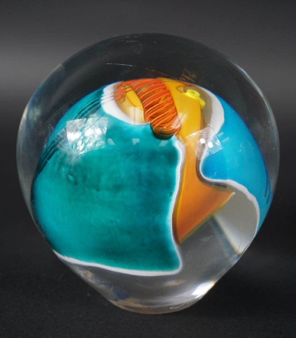 Large Contemporary Signed Art Glass Paperweight - 2