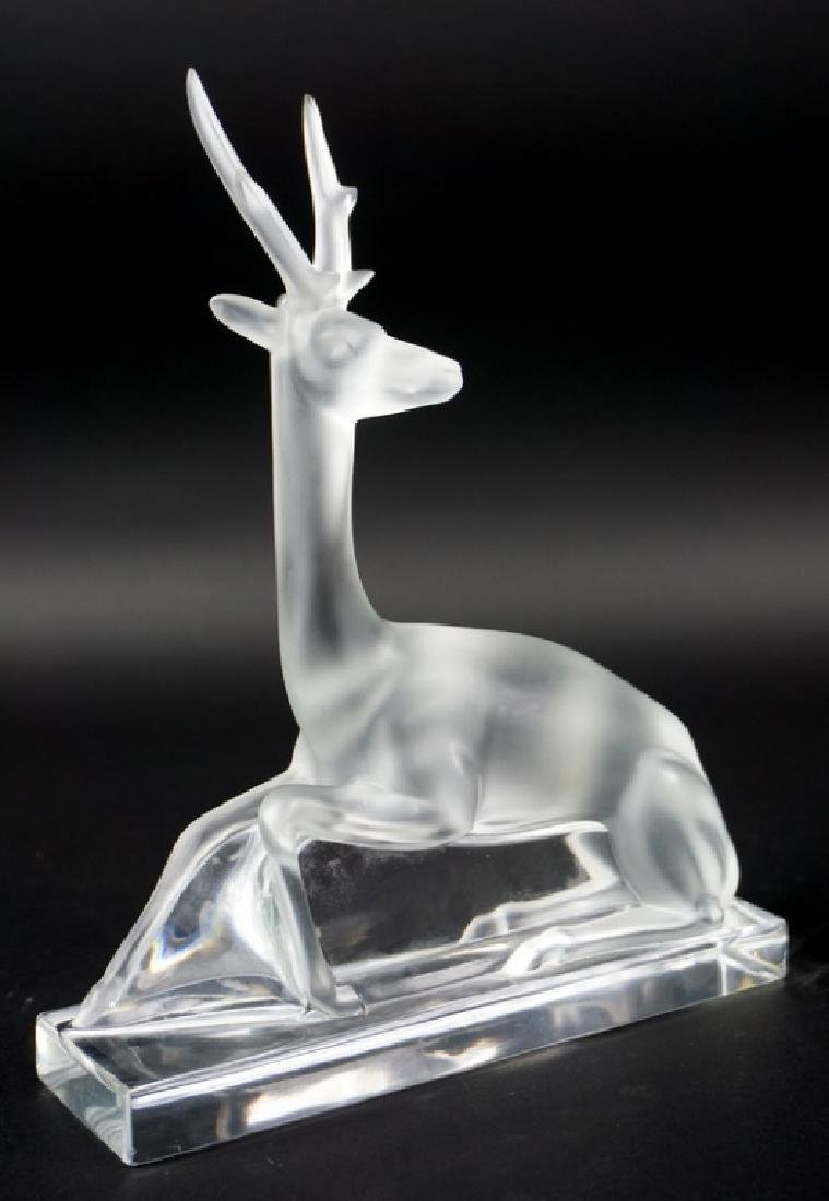 "Lalique France ""Cerf"" Seated Stag Crystal Figure - 2"