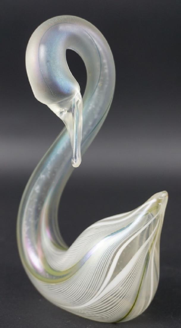 Stuart Abelman Studio Art Glass Swan Figure