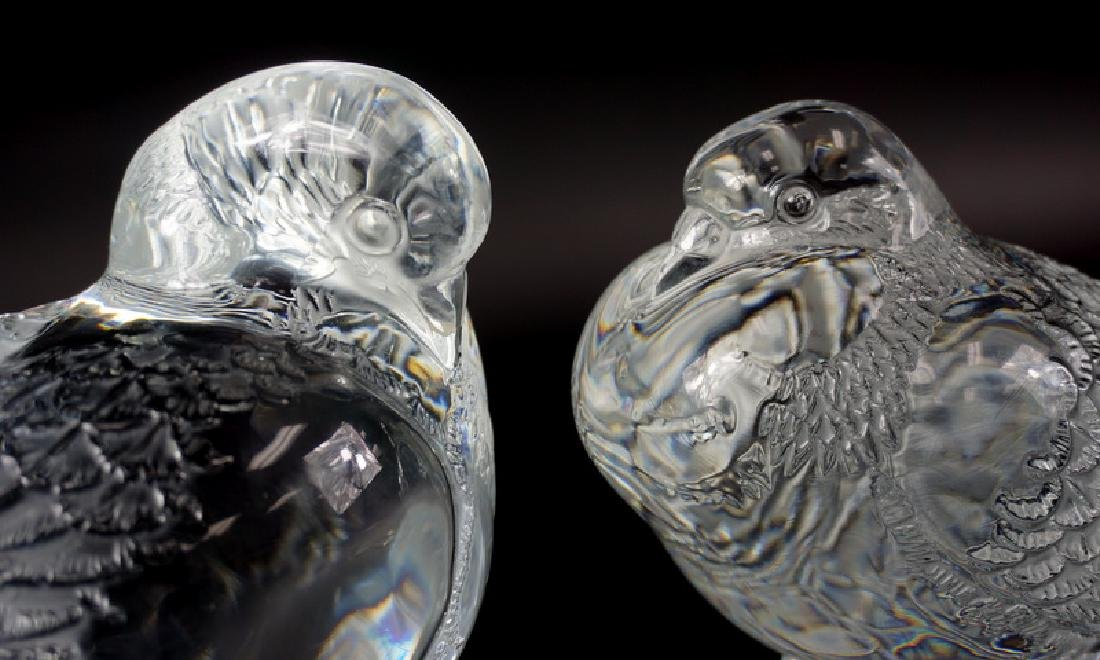 Pair of Lalique France Crystal Pigeons - 7