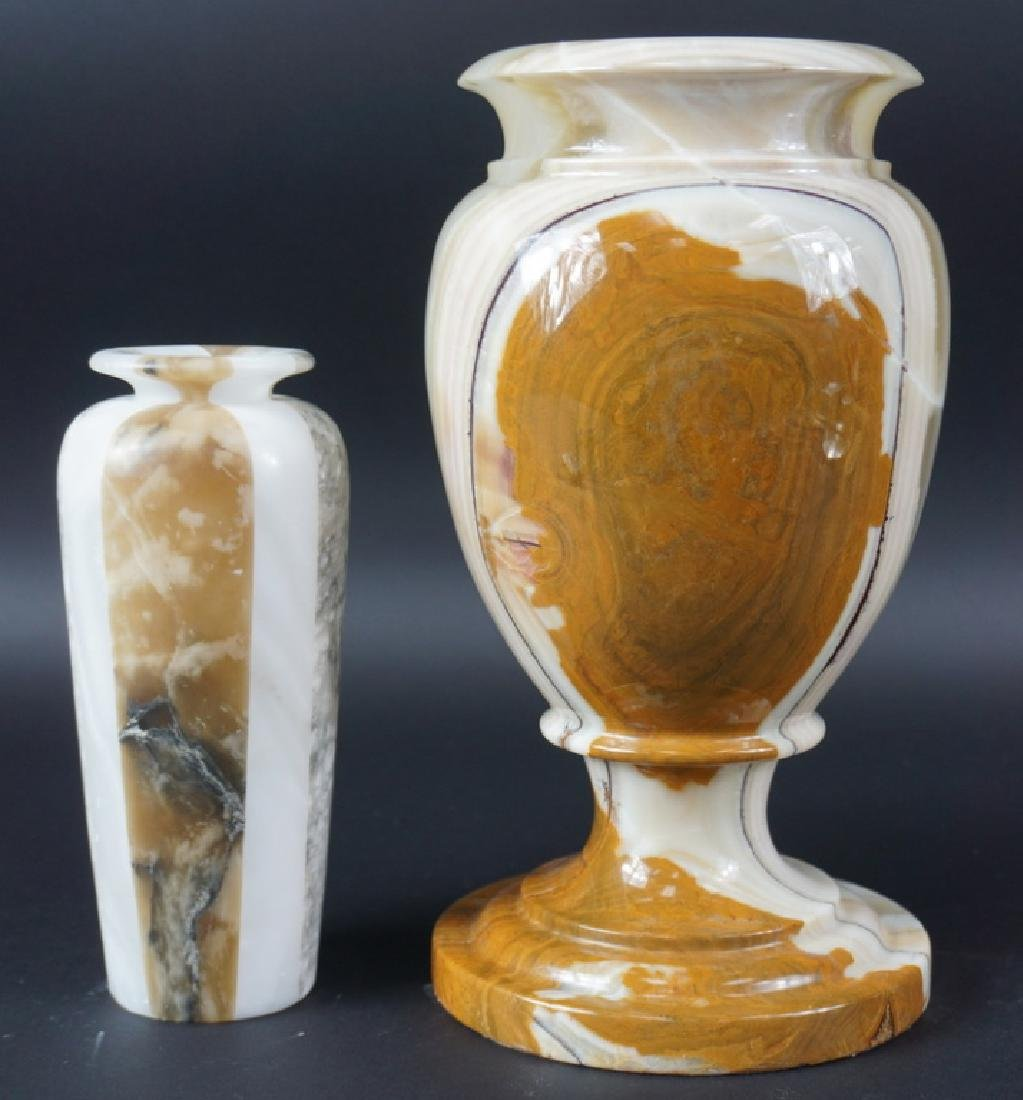 Lot of Two Beautiful Polished Marble Vases