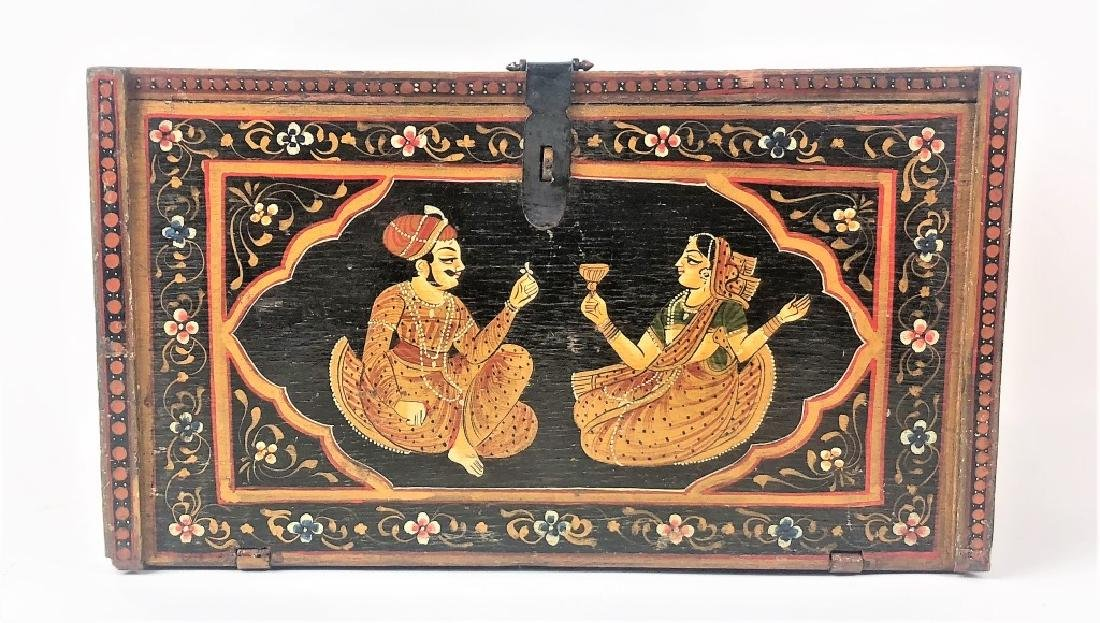 Antique Hand Painted Indian Wooden Box