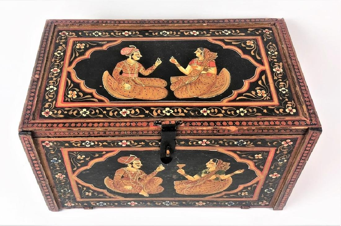 Antique Hand Painted Indian Wooden Box - 2