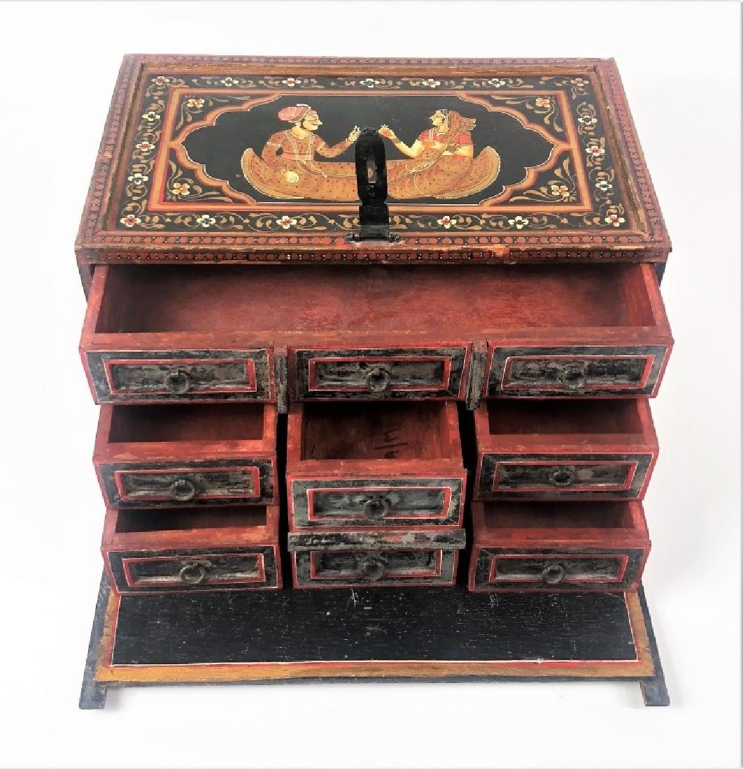 Antique Hand Painted Indian Wooden Box - 4
