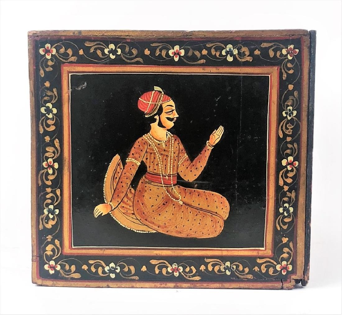 Antique Hand Painted Indian Wooden Box - 5