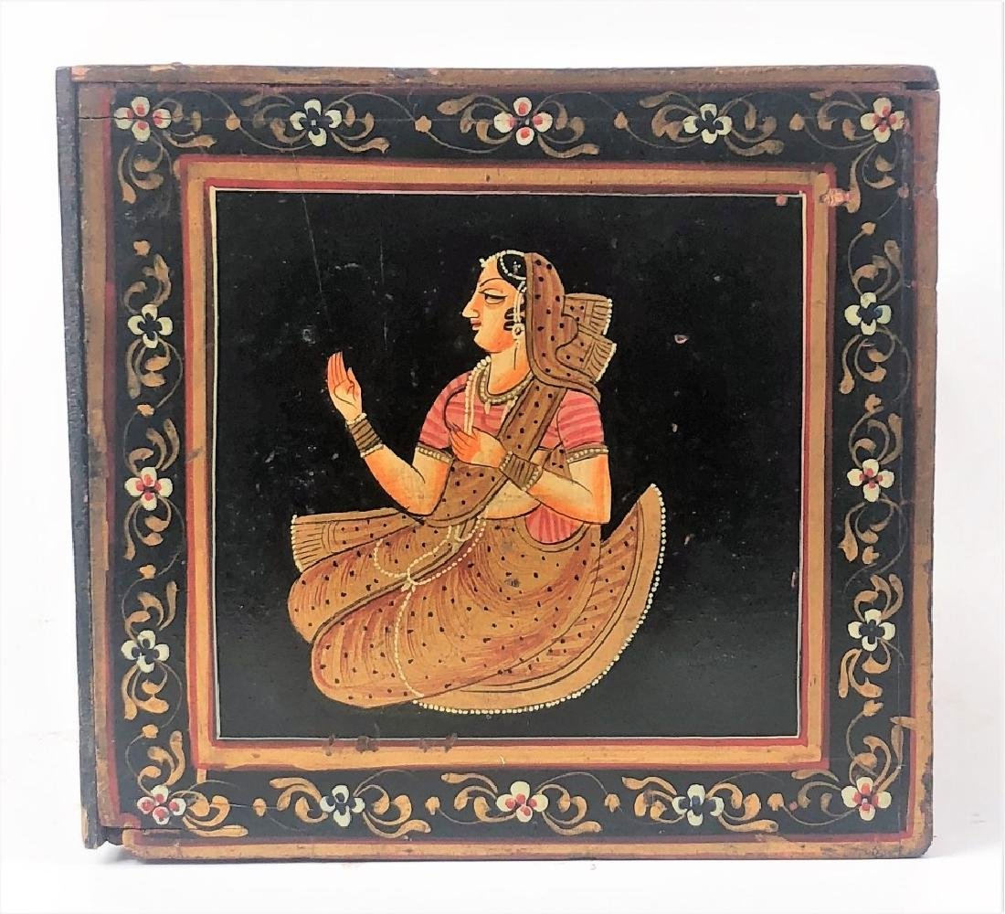 Antique Hand Painted Indian Wooden Box - 6