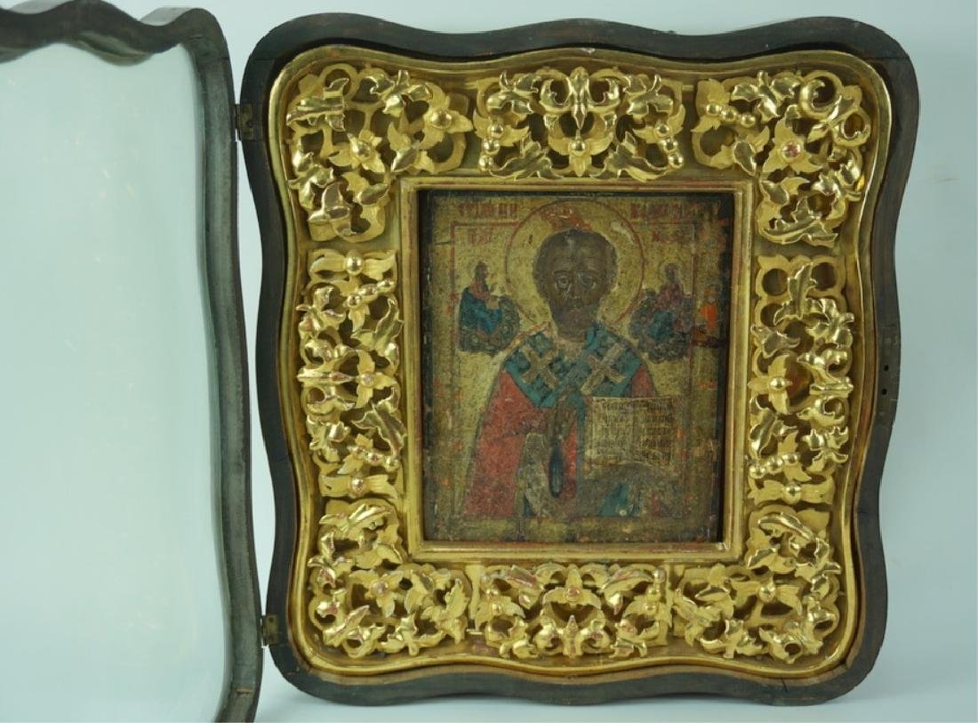 Framed Antique Russian Hand Painted Icon In Case