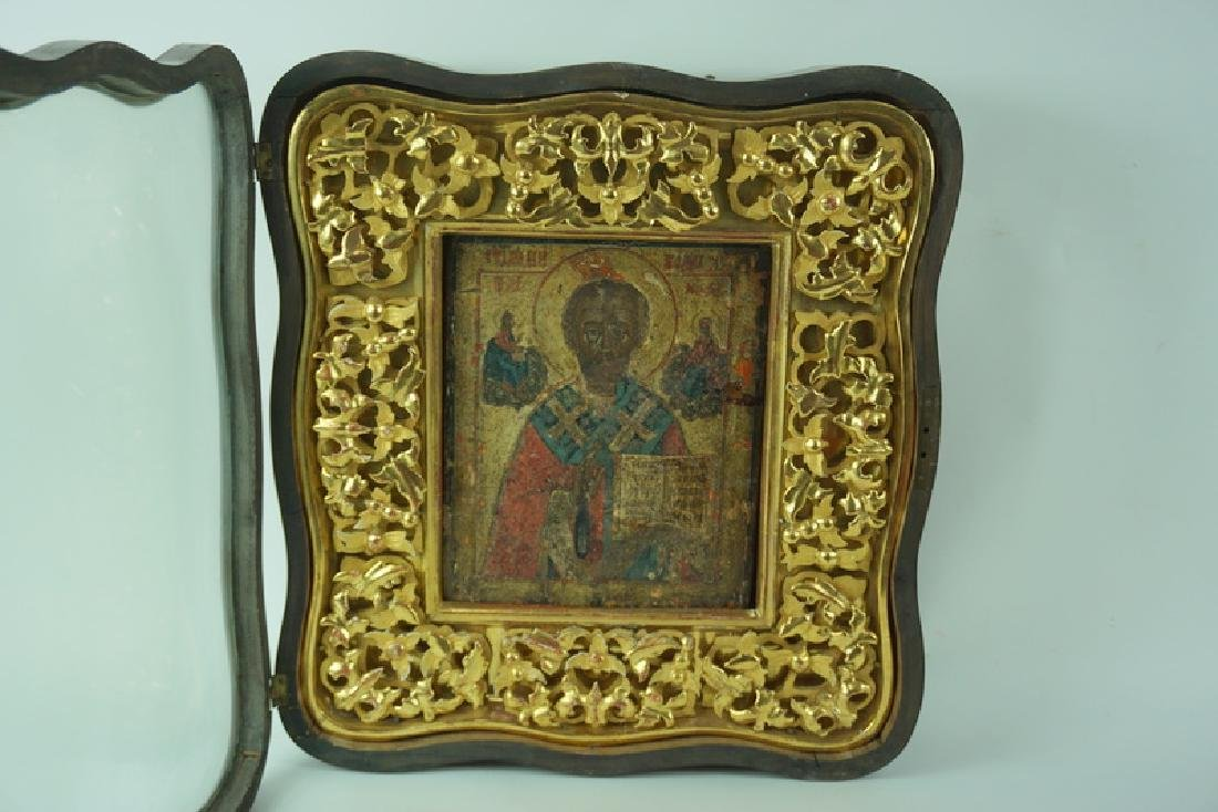 Framed Antique Russian Hand Painted Icon In Case - 3