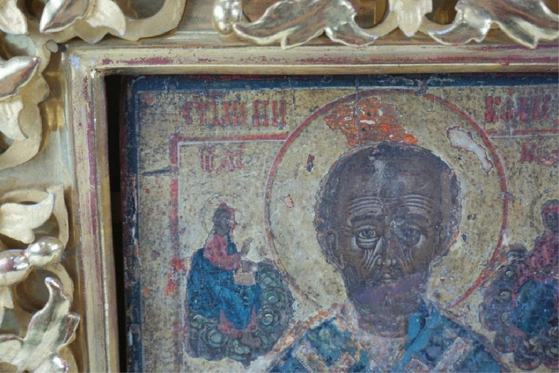 Framed Antique Russian Hand Painted Icon In Case - 8