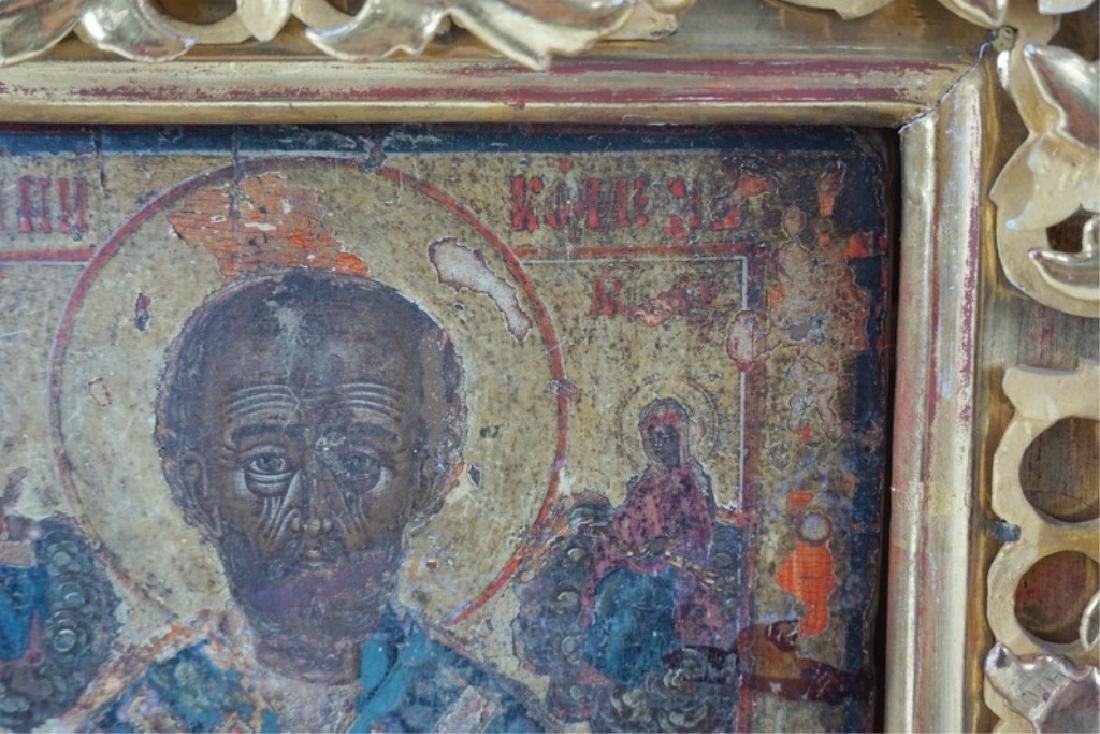 Framed Antique Russian Hand Painted Icon In Case - 9