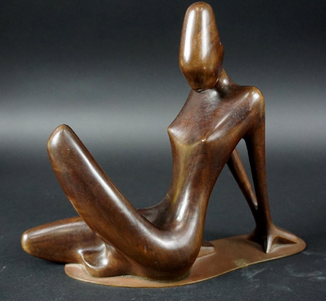 Mid Century Modern Teak Wood Carving On Brass Base