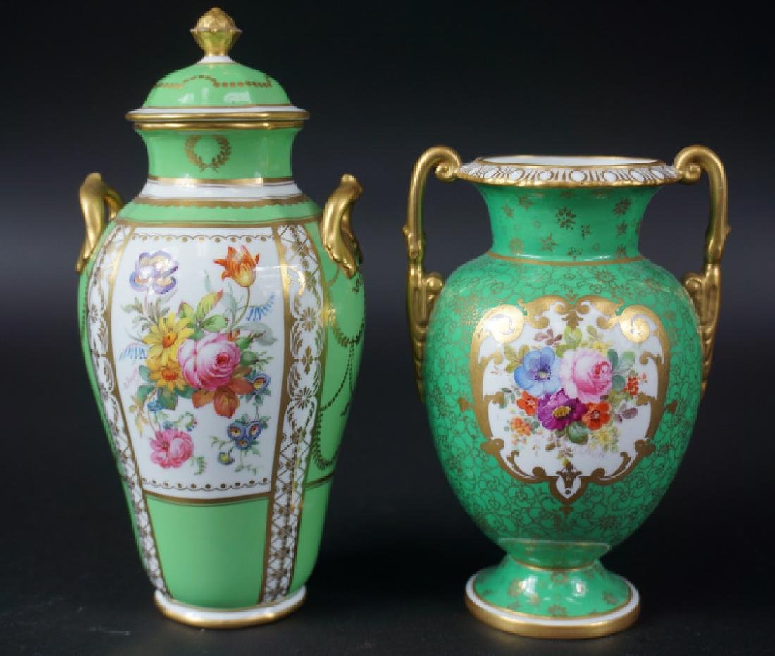 Two Royal Crown Derby Hand Painted Porcelain Urns