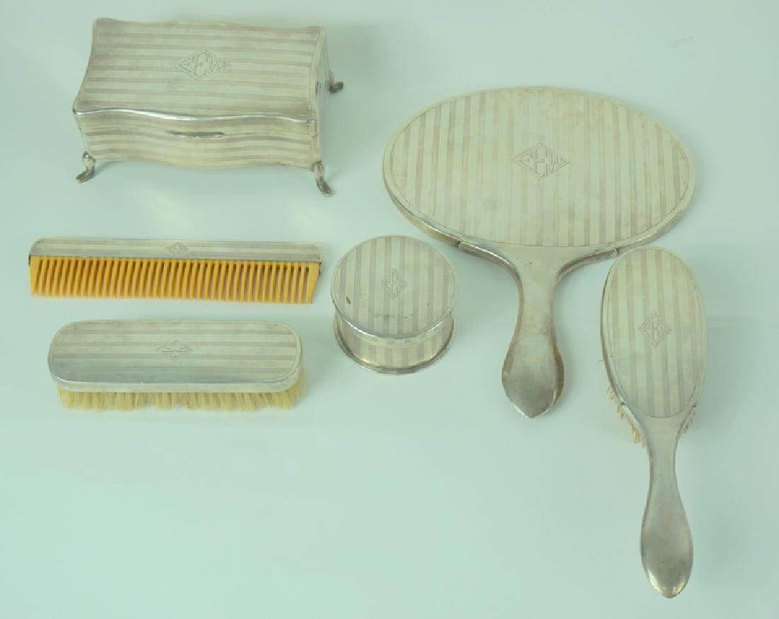 6pc Mid Century Zee Sung Chinese Silver Vanity Set