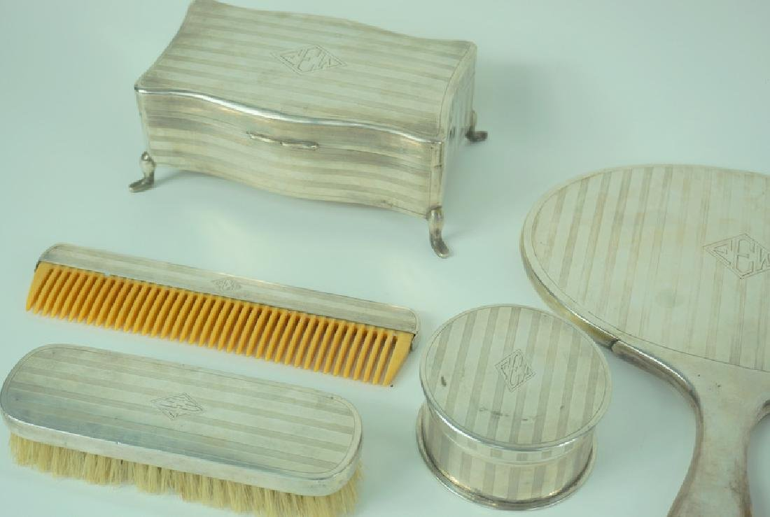 6pc Mid Century Zee Sung Chinese Silver Vanity Set - 2
