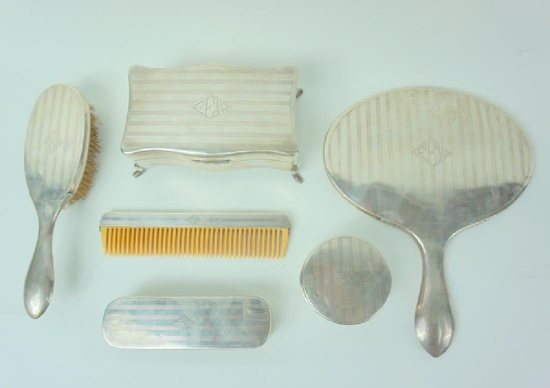 6pc Mid Century Zee Sung Chinese Silver Vanity Set - 3