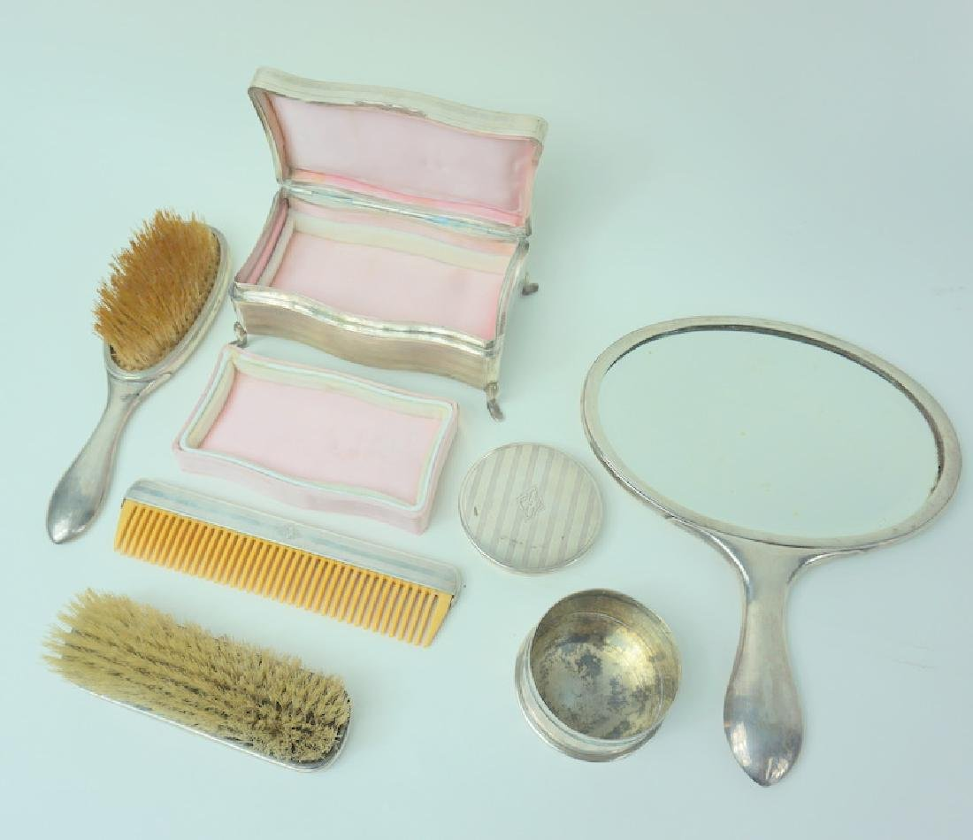 6pc Mid Century Zee Sung Chinese Silver Vanity Set - 4