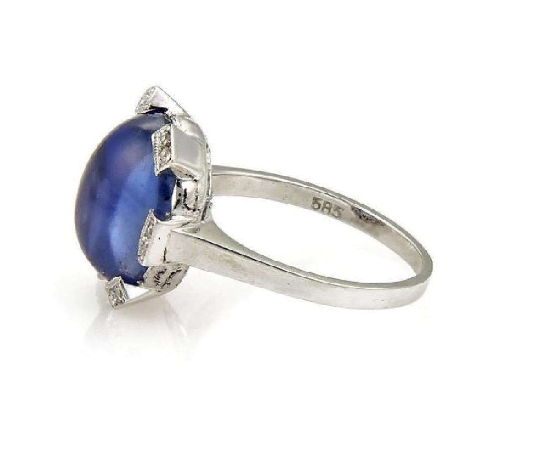 Vintage Sapphire & Rose Cut Diamond 14k Gold Ring - 2