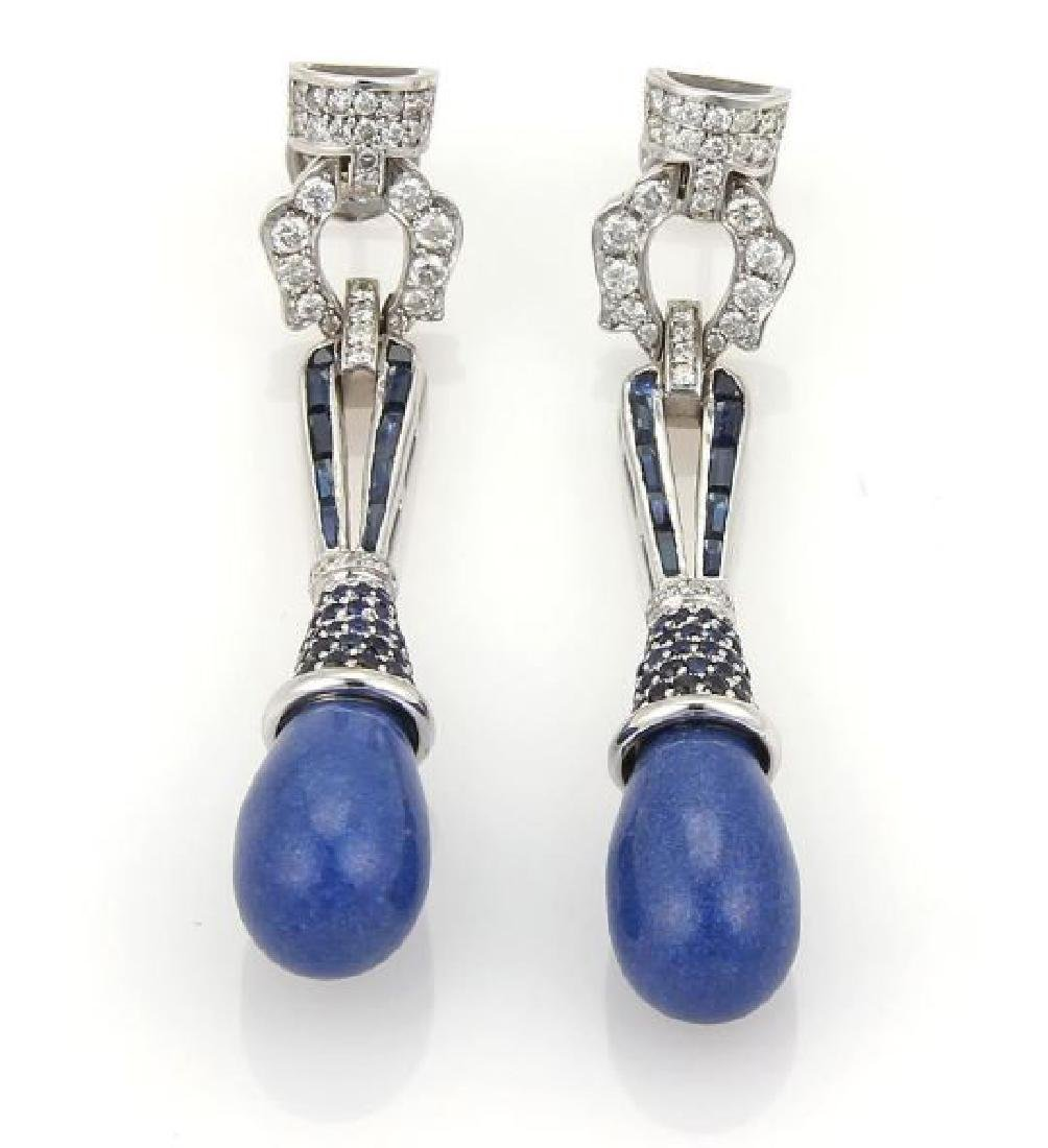 3ct Diamonds Sapphires & Lapis 18k Gold Earrings