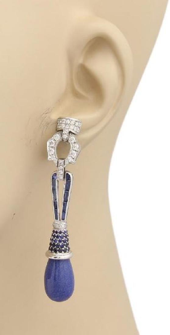 3ct Diamonds Sapphires & Lapis 18k Gold Earrings - 2