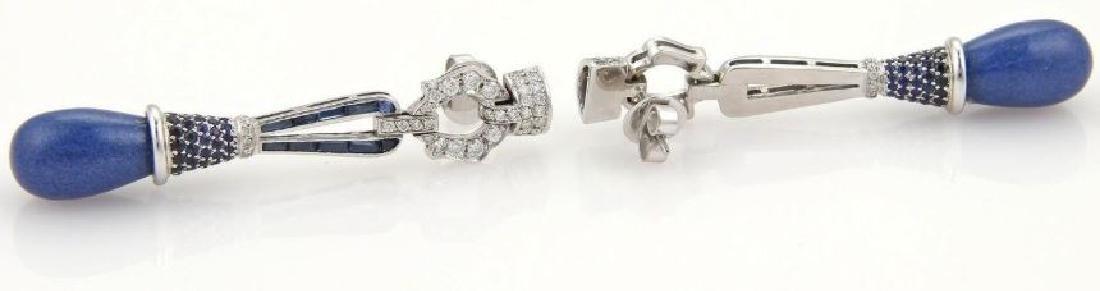3ct Diamonds Sapphires & Lapis 18k Gold Earrings - 4
