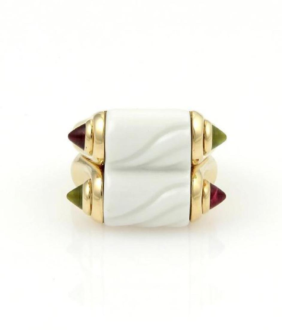 Bvlgari 18k Y/Gold Ceramic 1.20ct Tourmaline Ring