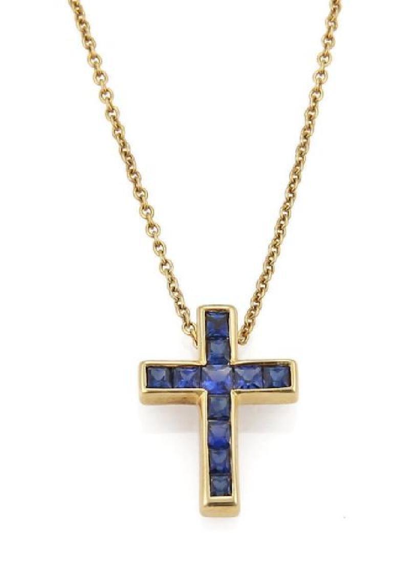 Tiffany&Co 18k Yellow Gold Cross Pendant Necklace