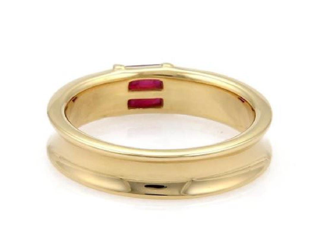 Tiffany & Co Ruby 18k Gold Concave Style Band Ring - 3