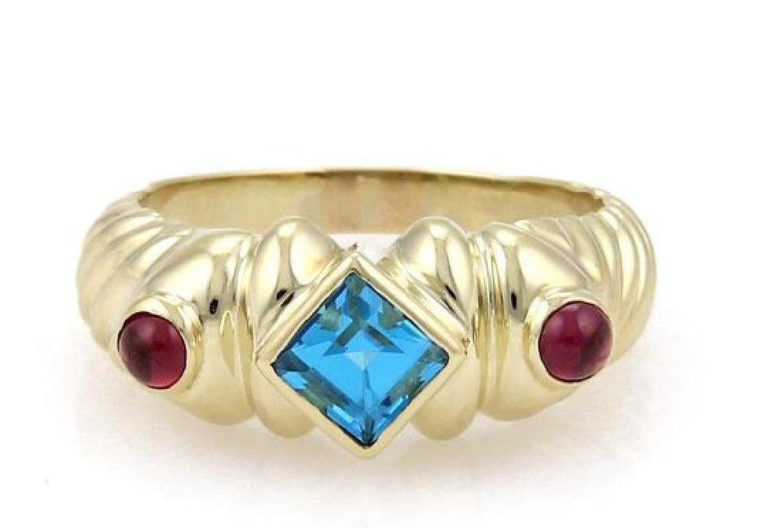 David Yurman Topaz Tourmaline 14k Gold Cable Ring
