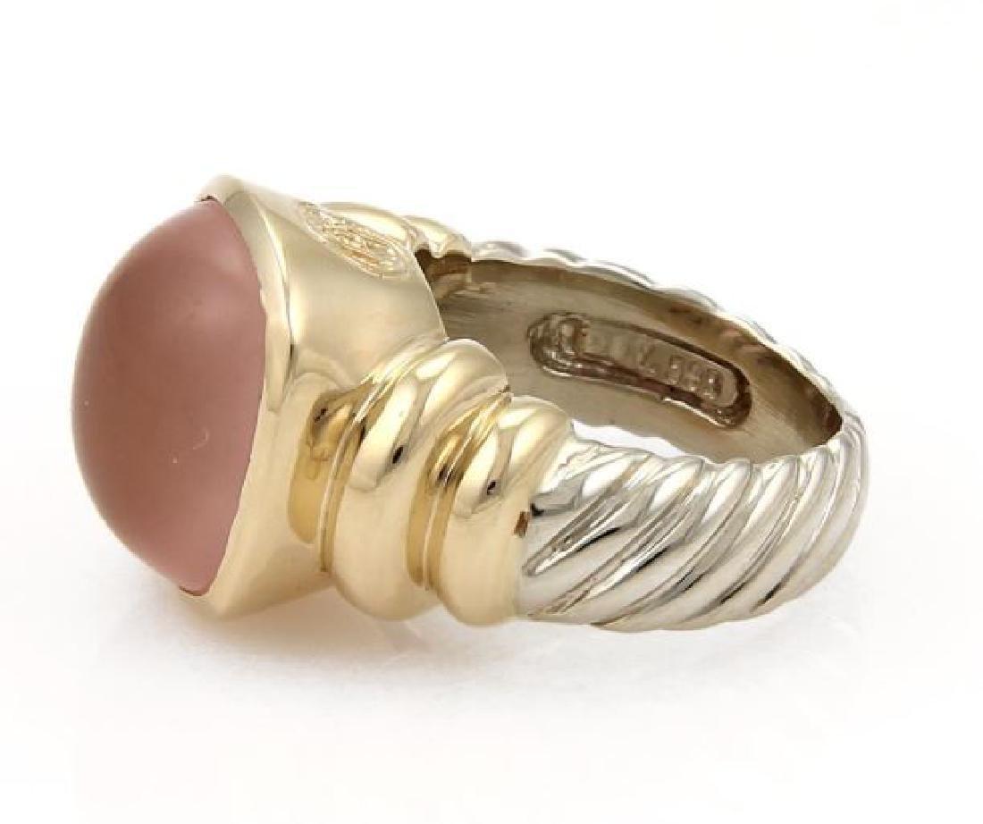 David Yurman Rose Quartz Sterling 14k Gold Ring - 2