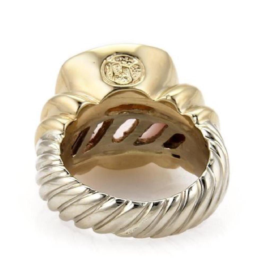 David Yurman Rose Quartz Sterling 14k Gold Ring - 3