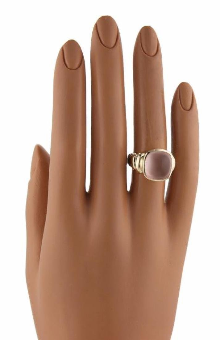 David Yurman Rose Quartz Sterling 14k Gold Ring - 6