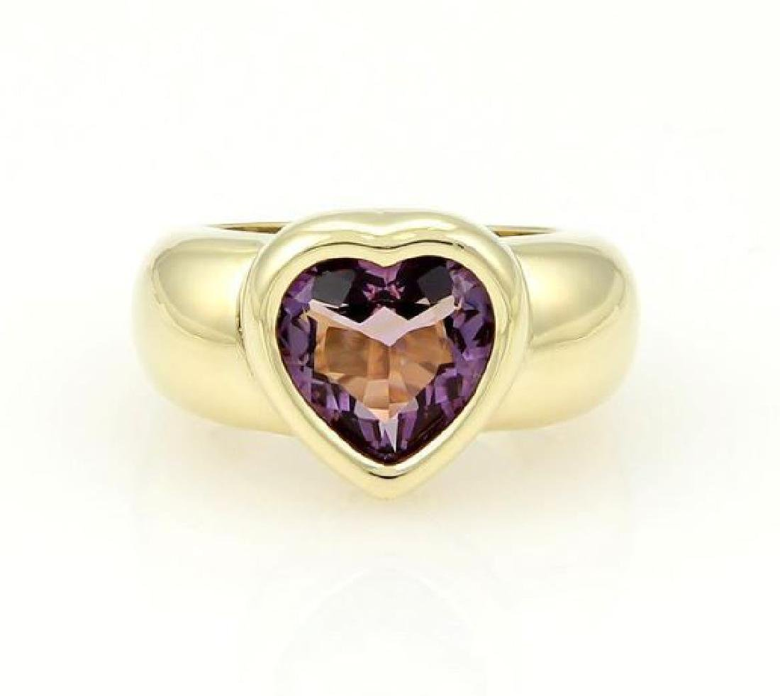 Piaget 18k Gold Heart Amethyst Gem Solitaire Ring