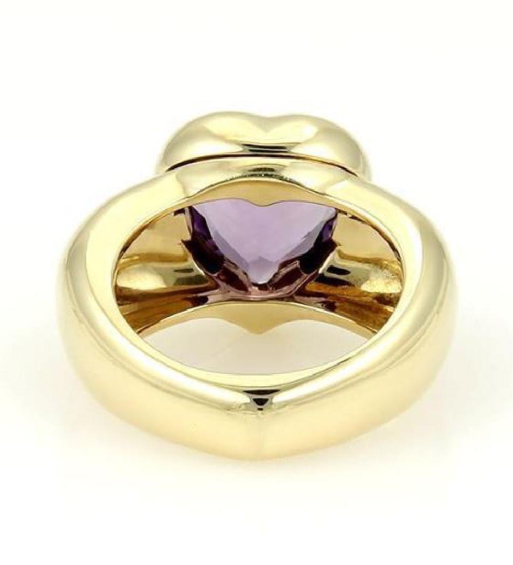 Piaget 18k Gold Heart Amethyst Gem Solitaire Ring - 3