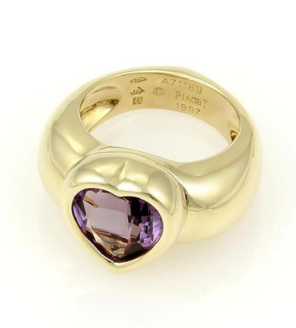 Piaget 18k Gold Heart Amethyst Gem Solitaire Ring - 4