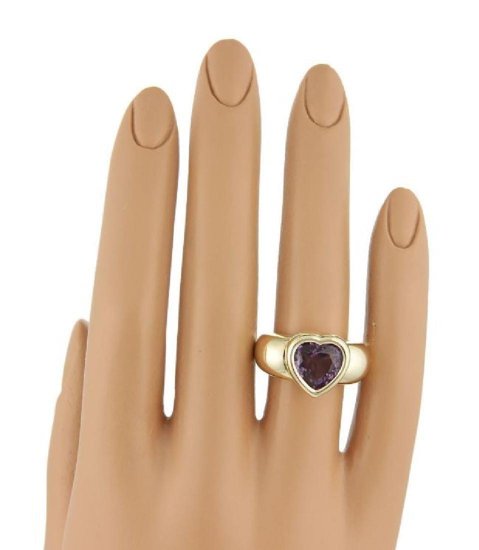 Piaget 18k Gold Heart Amethyst Gem Solitaire Ring - 5