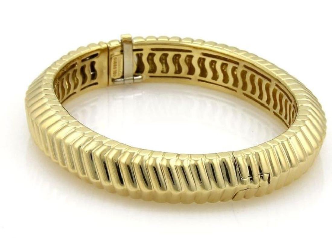Tiffany&Co Cordis 18k Gold Grooved Bangle Bracelet - 3